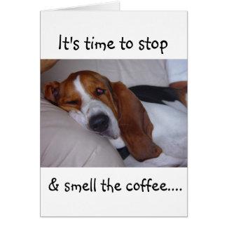 Cartão Basset Hound sonolento
