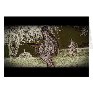 Cartão Batalha da silhueta do soldado da protuberância