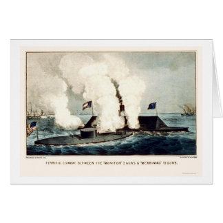 Cartão Batalha do monitor e do Merrimac 1862