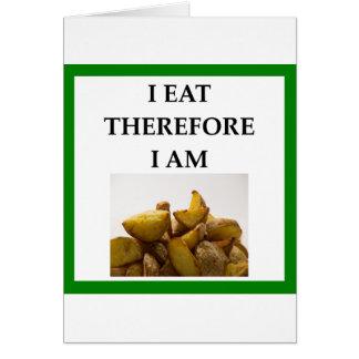 Cartão batatas fritas caseiras