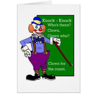 Cartão Batida do palhaço - a piada da batida obtem o
