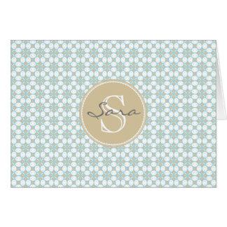 Cartão Batik Notecards retro do monograma