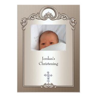 Cartão Batismo de prata da cruz da jóia do quadro da foto