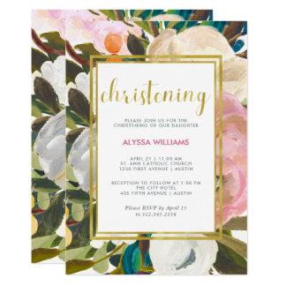 Cartão Batismo floral delicado da aguarela  