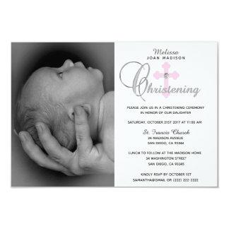 Cartão Batismo transversal cor-de-rosa branco lindo da