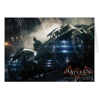 Cartão Batman com o Batmobile na chuva