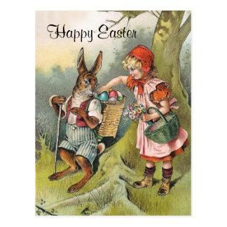 Cartão bávaro da menina do Victorian do coelhinho
