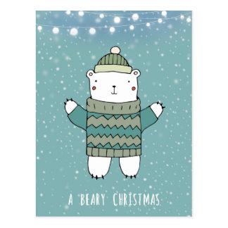 cartão beary do urso polar do feriado do Natal
