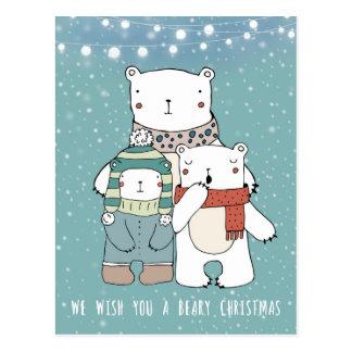 cartão beary dos ursos polares do feriado do Natal
