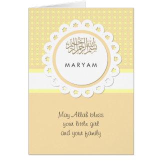 Cartão Bebê amarelo dos muçulmanos das felicitações de