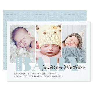 Cartão Bebé bem-vindo da foto dos azuis bebés três