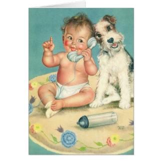 Cartão Bebê bonito do vintage no obrigado do cão de