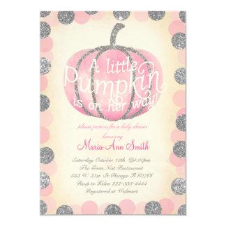 Cartão Bebê cor-de-rosa do vintage do brilho da tira da