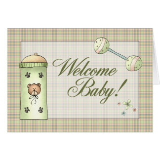 Cartão Bebê da boa vinda da xadrez de Whimical