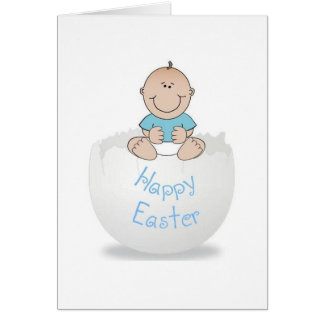 Cartão Bebé do ovo de felz pascoa