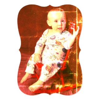 Cartão Bebé do vintage na cadeira de balanço