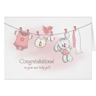 Cartão Bebé dos parabéns com coelho