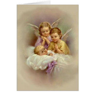 Cartão Bebê dos querubins do anjo-da-guarda no vintage da