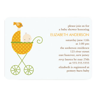 Cartão Bebê no chá de fraldas do outono do carrinho de