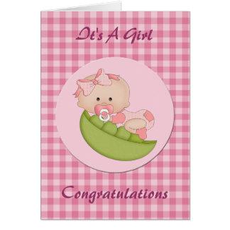 Cartão Bebé novo das felicitações em um rosa do vagem