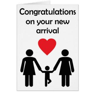 Cartão Bebê novo do casal lésbica dos sentimentos