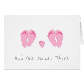 Cartão Bebé novo do casal lésbica - e um faz três