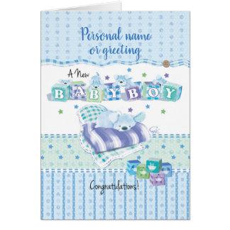 Cartão Bebé novo. Filhote de cachorro adormecido em