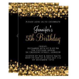 Cartão Bebê/ouro dos Sparkles partido de aniversário de