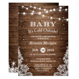 Cartão Bebê seu chá de fraldas rústico do inverno da