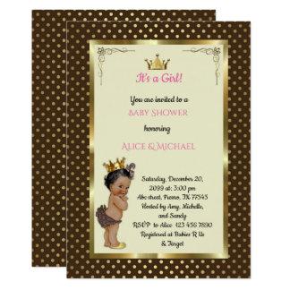 Cartão Bebê ShowerGirl, princesa Menina, marrom, na moda