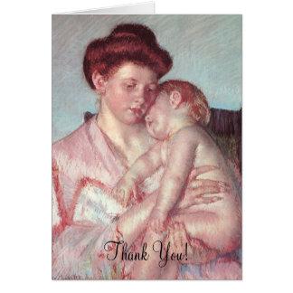 Cartão Bebê sonolento por Mary Cassatt, obrigado