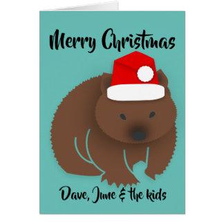 Cartão Bebê Wombat do Natal