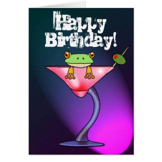 Cartão bêbedo do feliz aniversario do sapo do