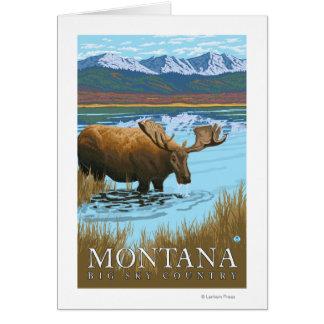 Cartão Bebendo dos alces no lago - Montana