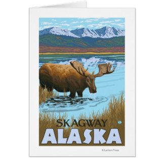 Cartão Bebendo dos alces no lago - Skagway, Alaska
