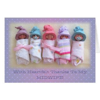 Cartão Bebês da argila: Obrigados a minha parteira:
