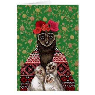 Cartão Bebês da coruja das objectivas triplas da mãe da
