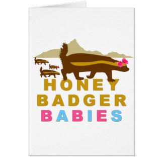 Cartão bebês do texugo de mel