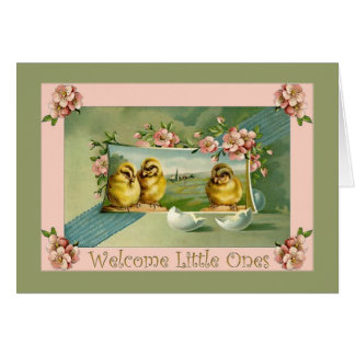 Cartão Bebês novos, objectivas triplas, boa vinda ao