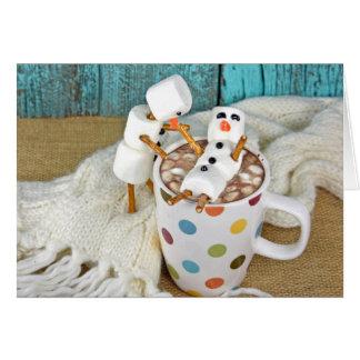 Cartão Bebida do chocolate quente com bonecos de neve