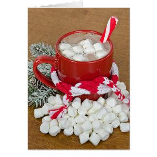 Cartão Bebida do chocolate quente do Natal com lenço