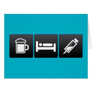 Cartão Bebida, sono e anestesia