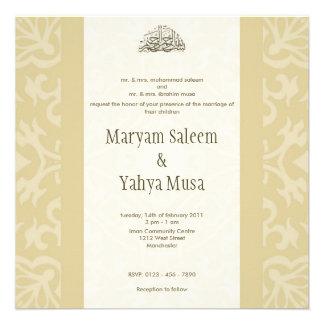 Cartão bege islâmico do convite do casamento do bi