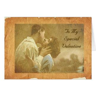 Cartão Beijo dos namorados do vintage