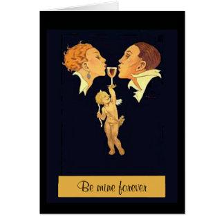 Cartão beijo dos namorados dos anos 20