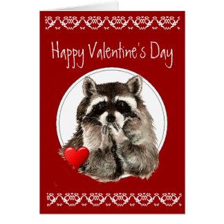 Cartão Beijos de sopro do guaxinim bonito para seus