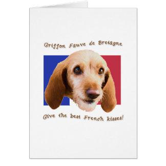 Cartão Beijos do francês de Griffon Fauve de Bretagne