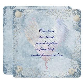 Cartão Beira azul do Seashell com rede