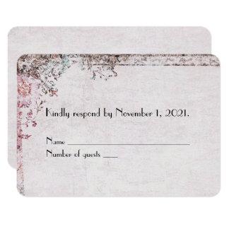 Cartão beira floral RSVP do vintage cor-de-rosa macio