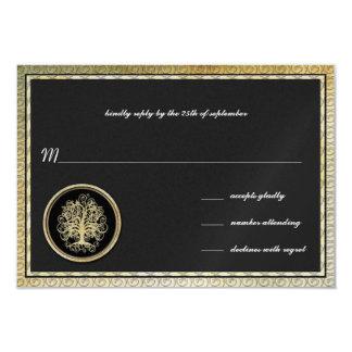Cartão Beira metálica do ouro da árvore do redemoinho do